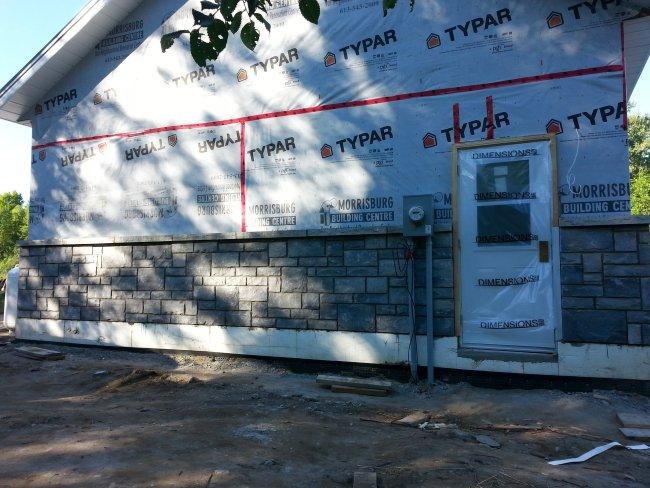 grey exterior house stone