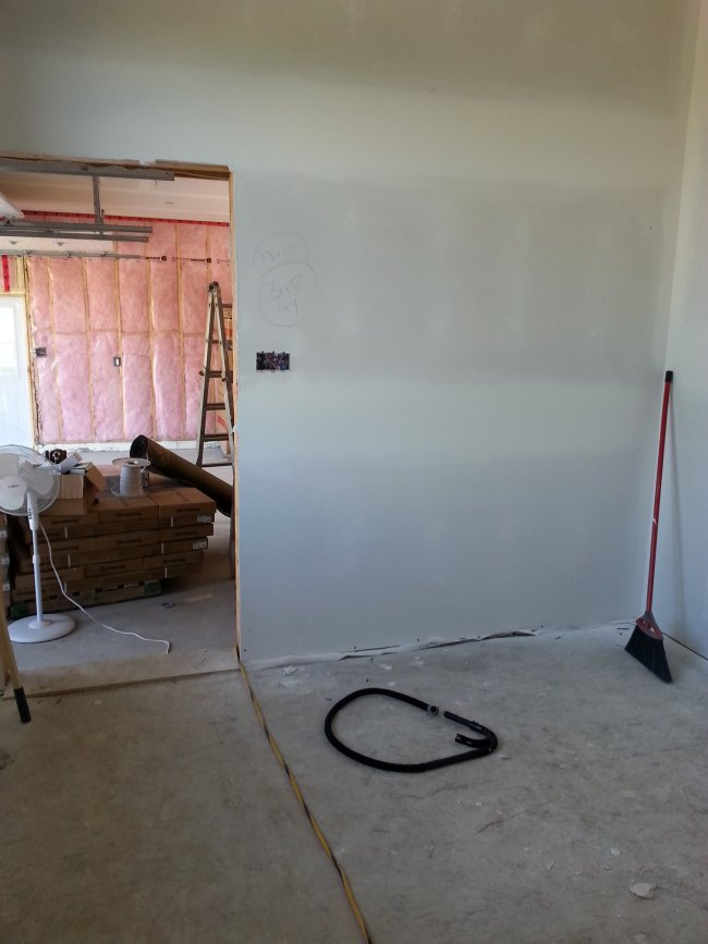 new drywall stage of construction in an owner built raised bungalow