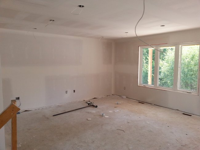 living room new drywall
