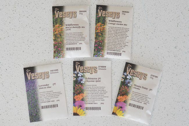 Veseys seed packages for a wildflower meadow