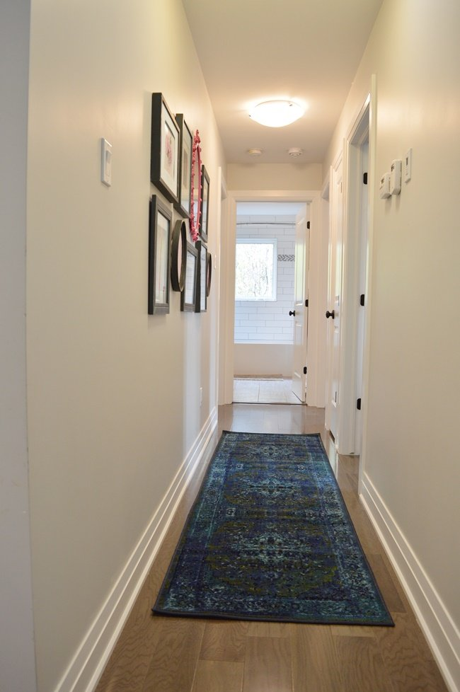 blue and green hall runner