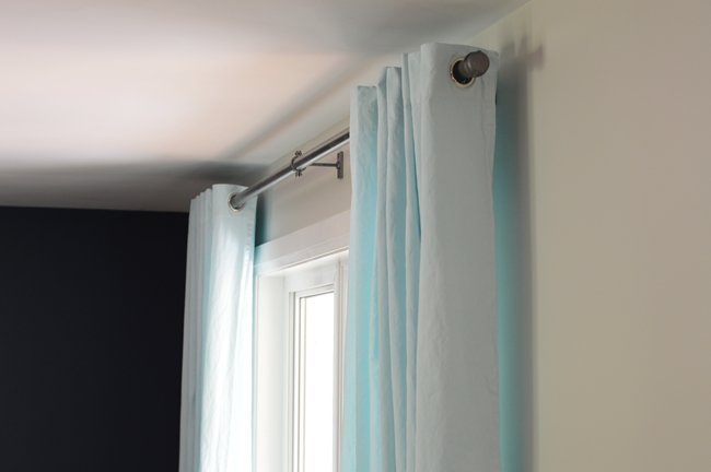 DIY industrial curtain rods from pvc pipe
