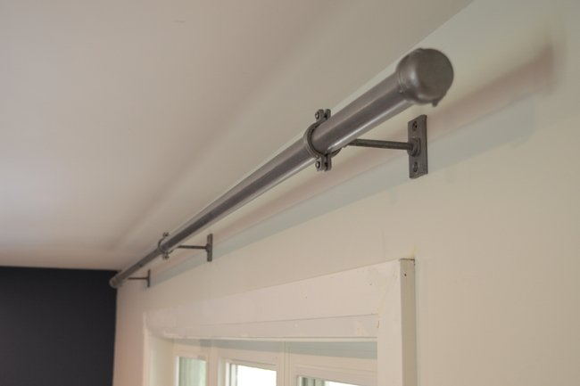 DIY industrial curtain rod, bracket and finial
