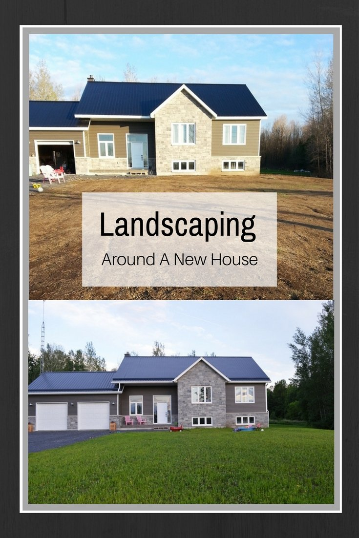 Landscaping around a new house includes final soil level, picking stones, and growing grass from seed