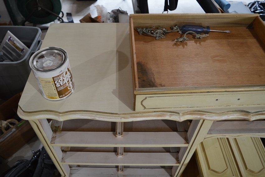 French provincial desk makeover using white milk paint