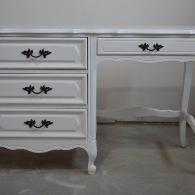 Desk Makeover Using White Milk Paint