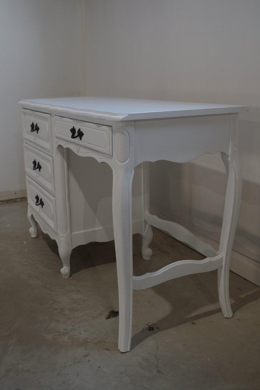 Desk makeover using general finishes snow white milk paint