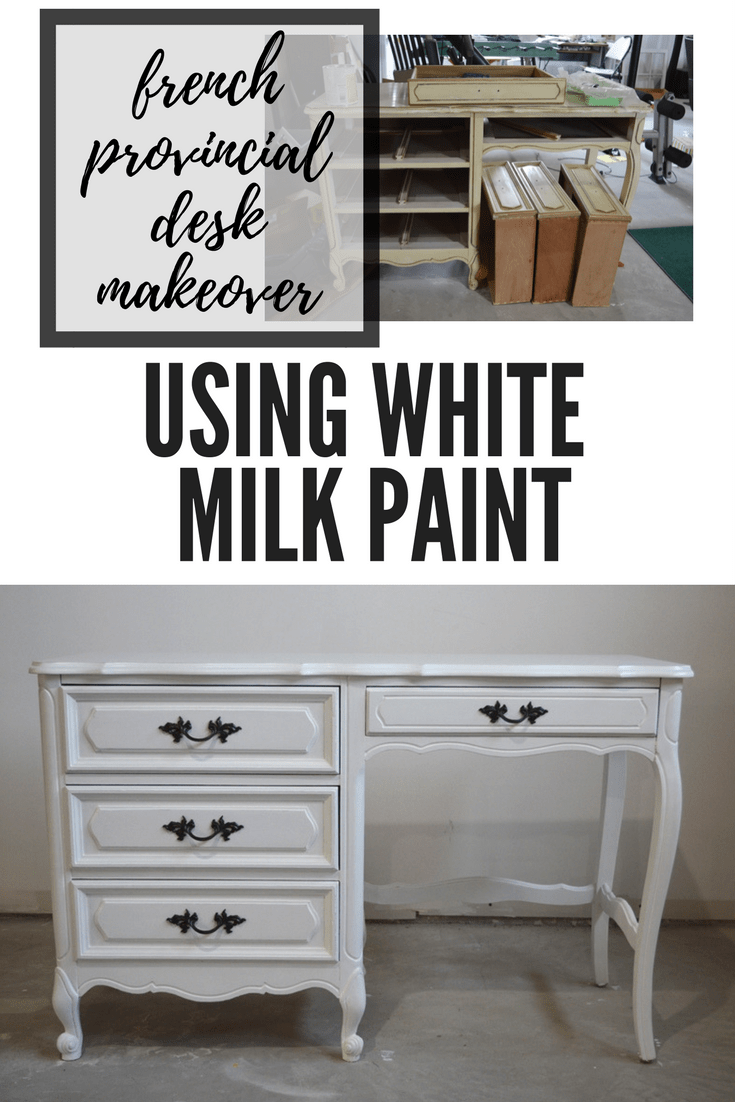 French provincial desk makeover using general finishes milk paint snow white. French provincial furniture makeover