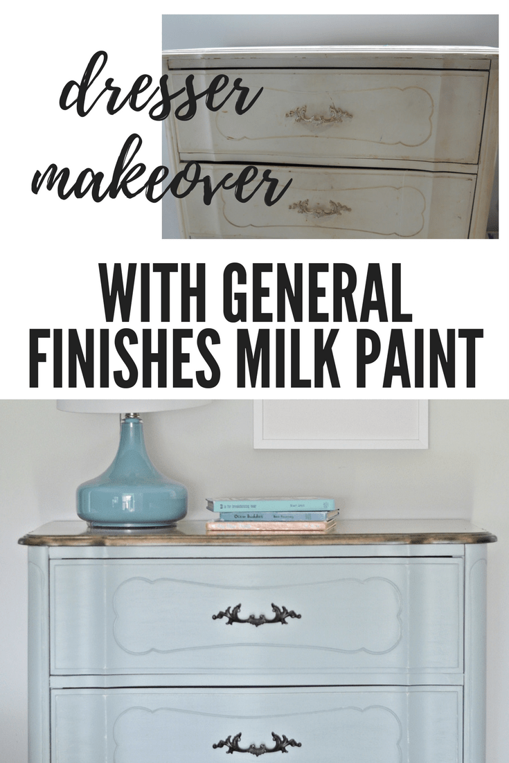 french provincial dresser makeover using general finishes milk paint persian blue and snow white