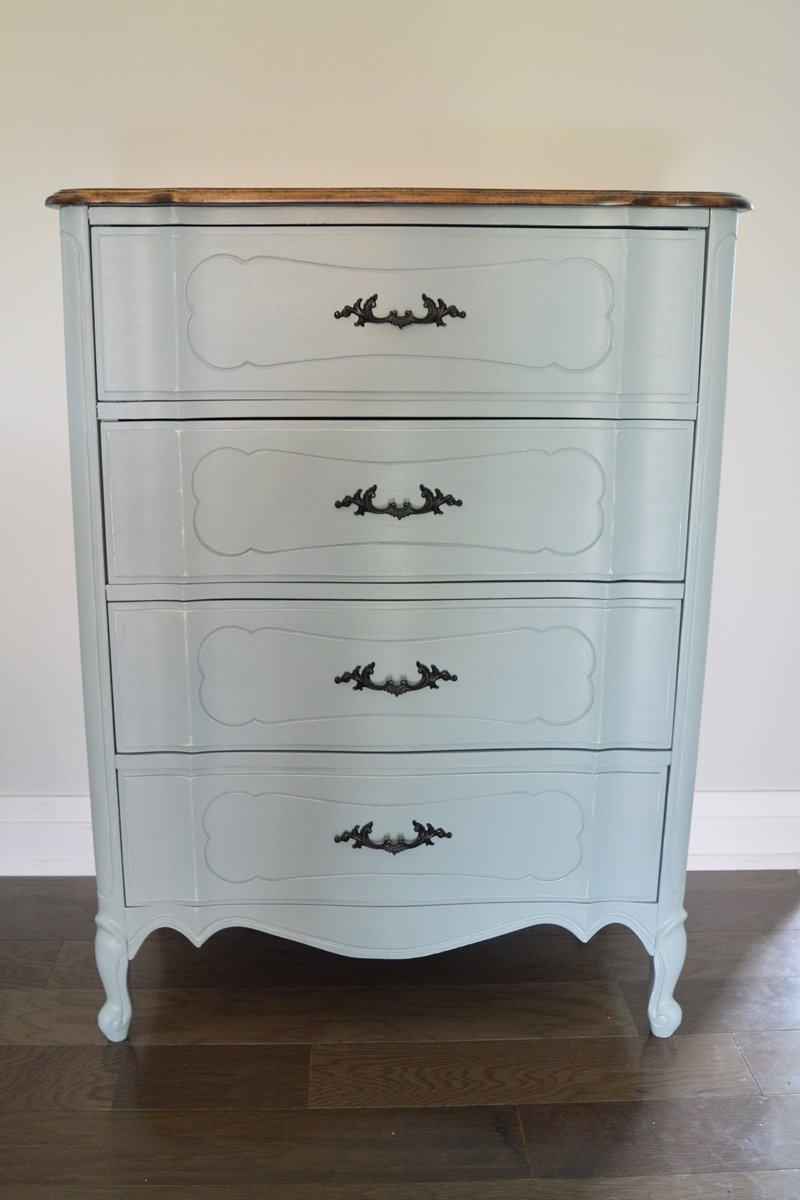 vintage french provincial dresser makeover with general finished milk paint