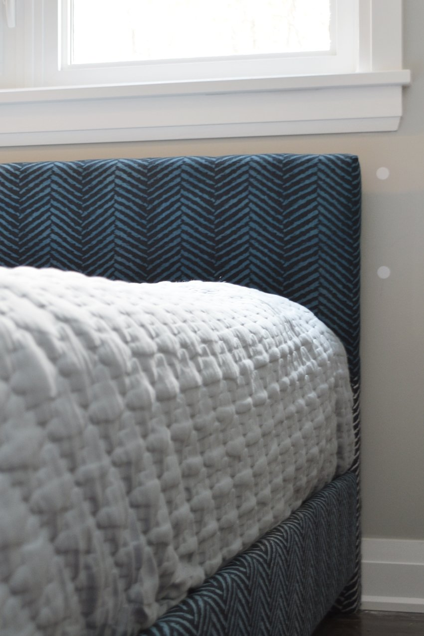 navy blue herringbone headboard makeover