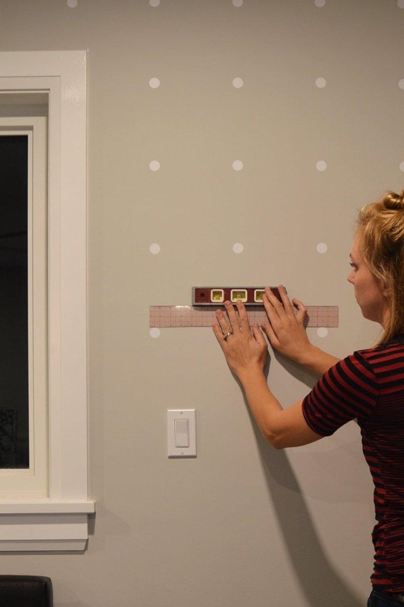 white polka dot accent wall
