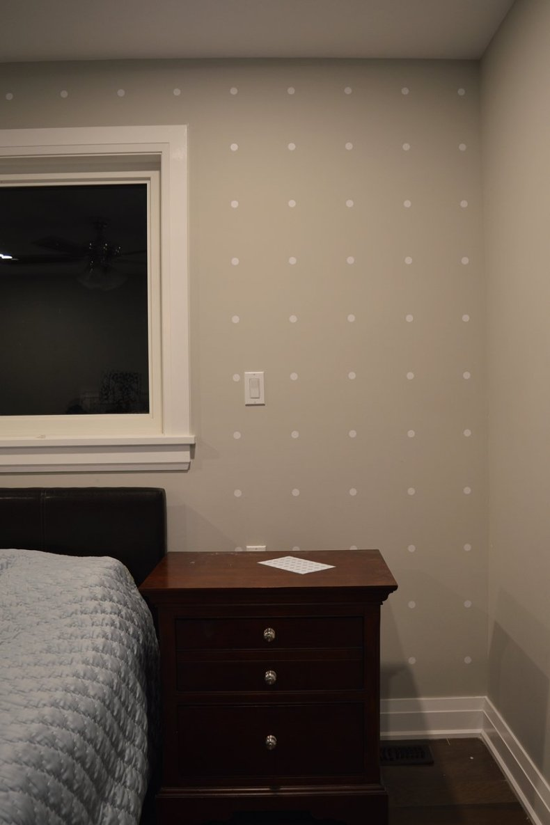 white polka dot focal wall