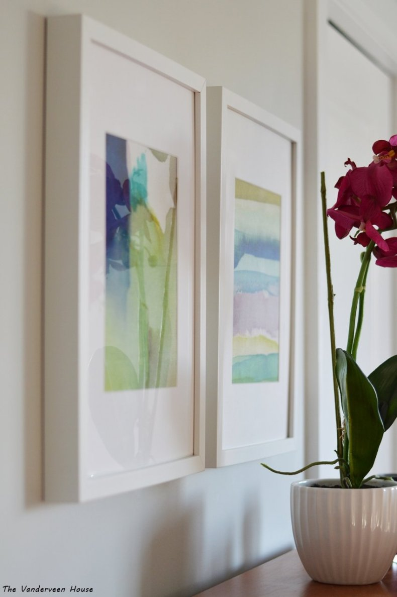 using watercolor fabric as art prints