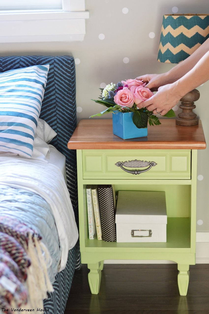 lime green bedside table makeover
