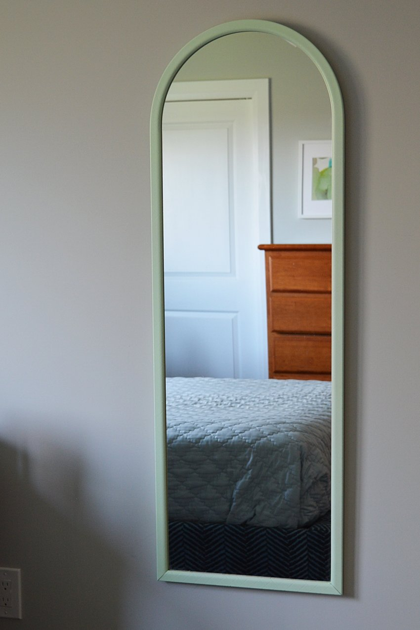 lime green spray painted mirror