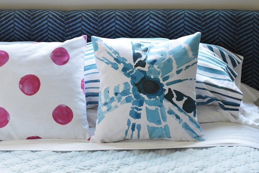 master bedroom linens blue and pink shibori watercolor