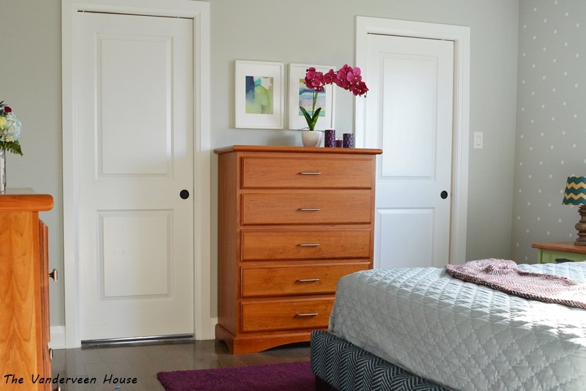 master bedroom makeover with colorful accents