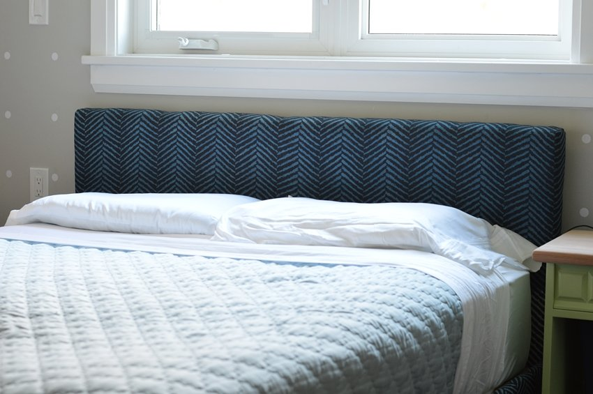 white sheets, blue headboard, master bedroom linens