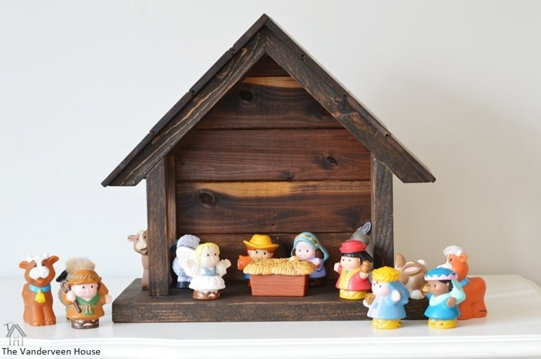 How to make your own wood nativity the vanderveen house here is how it looks with the willow tree nativity figurines solutioingenieria Gallery
