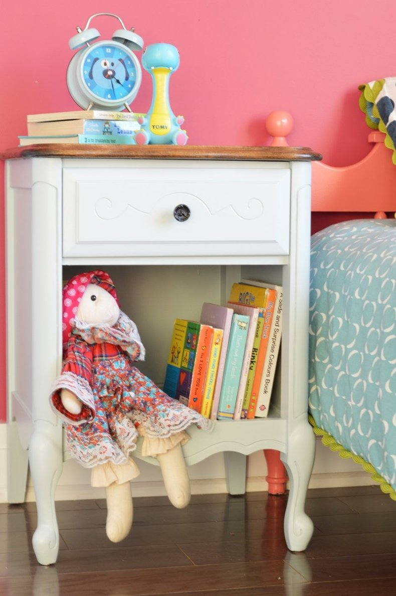 Furniture makeover with light blue general finishes milk paint