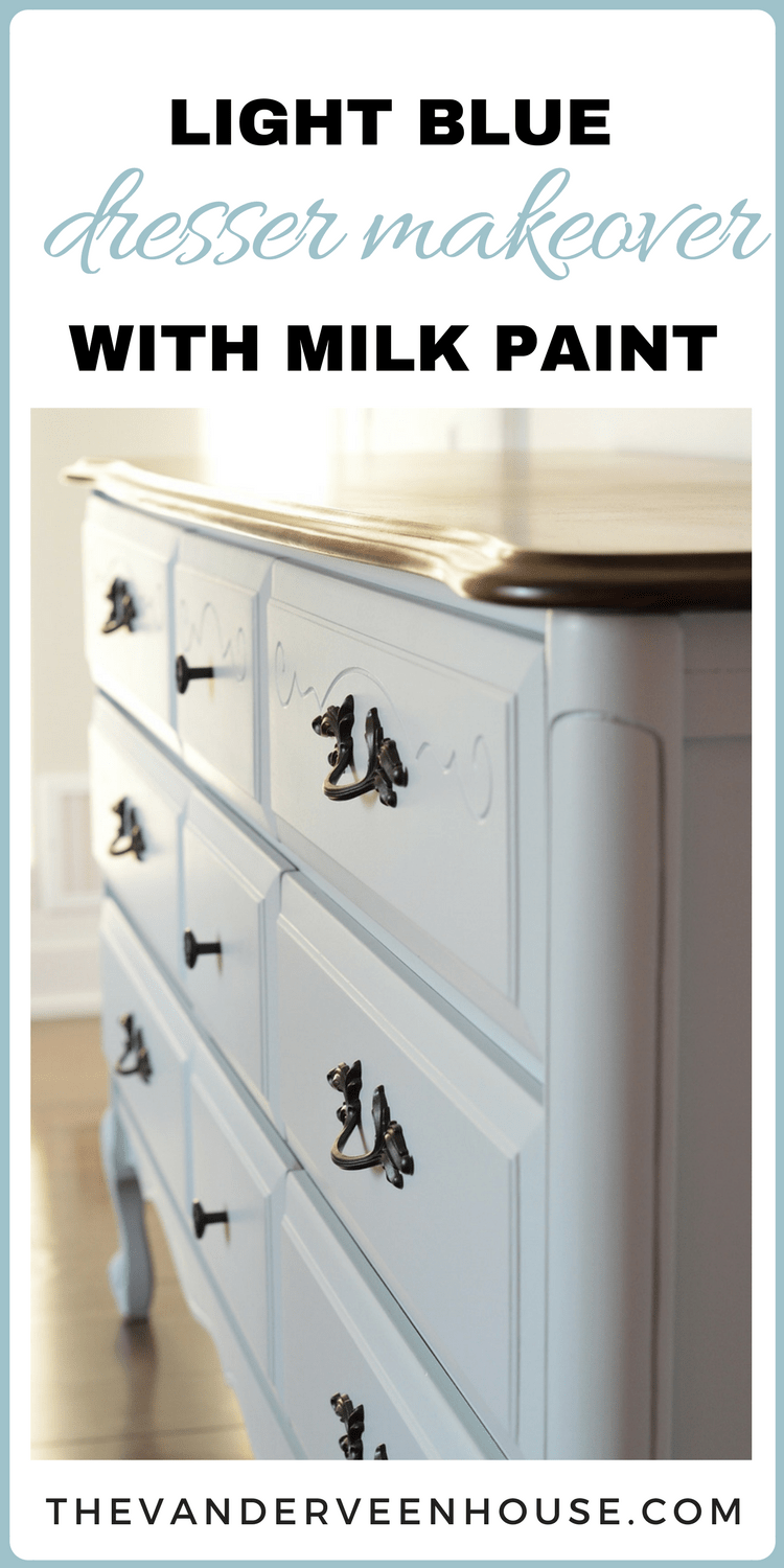 Blue dresser makeover with general finishes milk paint
