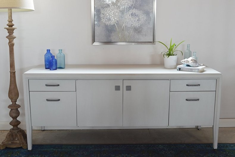 country chic lazy linen and pearl wax sideboard makeover