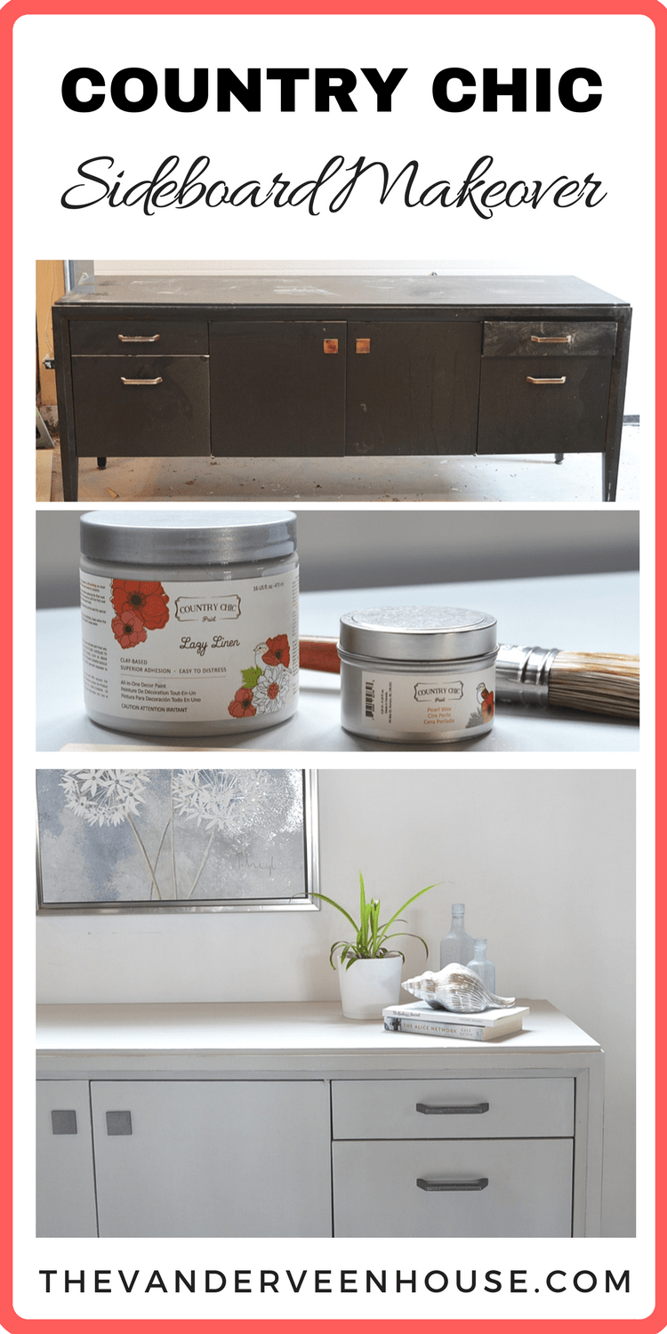 Sideboard makeover using Country Chic Lazy Linen chalk paint and Pearl Wax