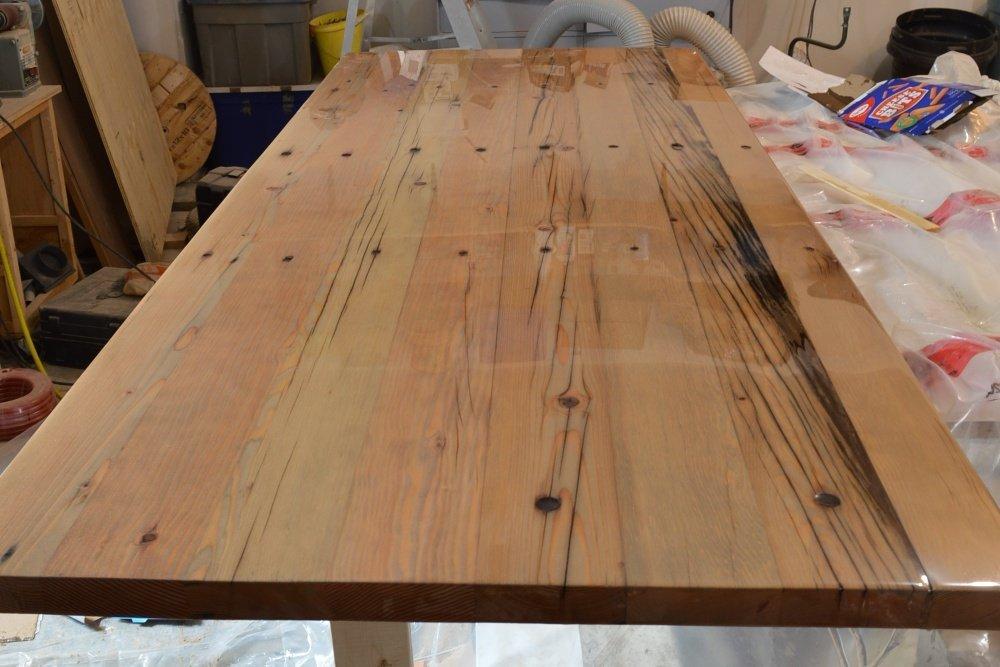 solid wood reclaimed desk top