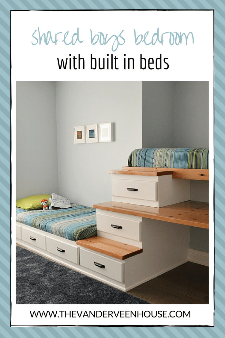 shared boys bedroom with built in beds