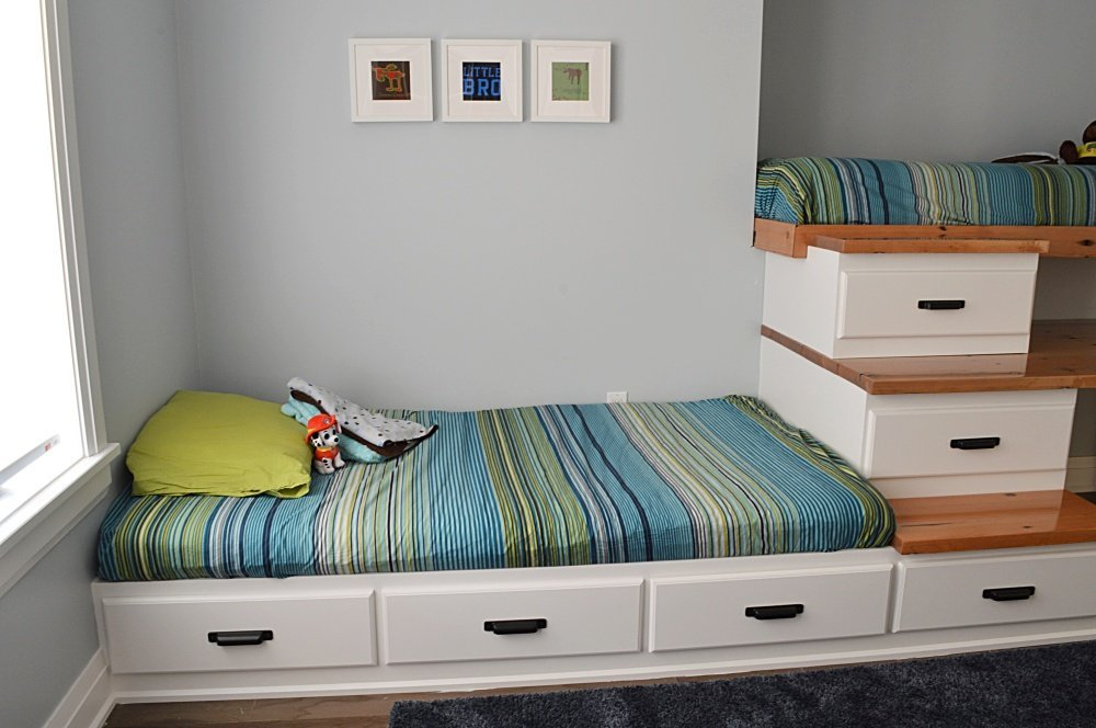 shared boys bedroom built in bed with storage