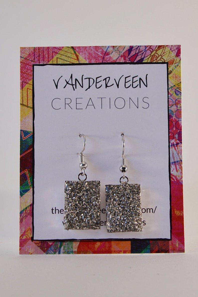silver faux druzy rectangle dangle earrings