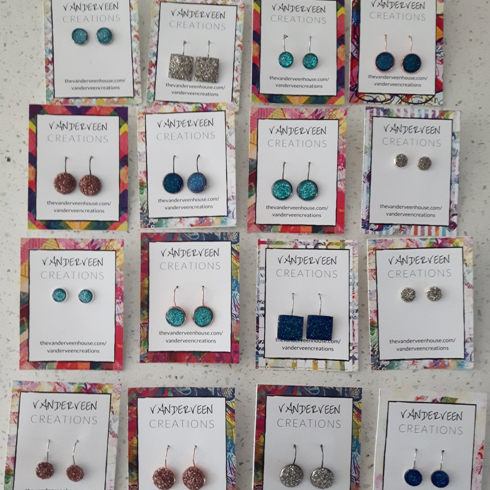 colorful and sparkly handcrafted resin earrings handmade jewelry