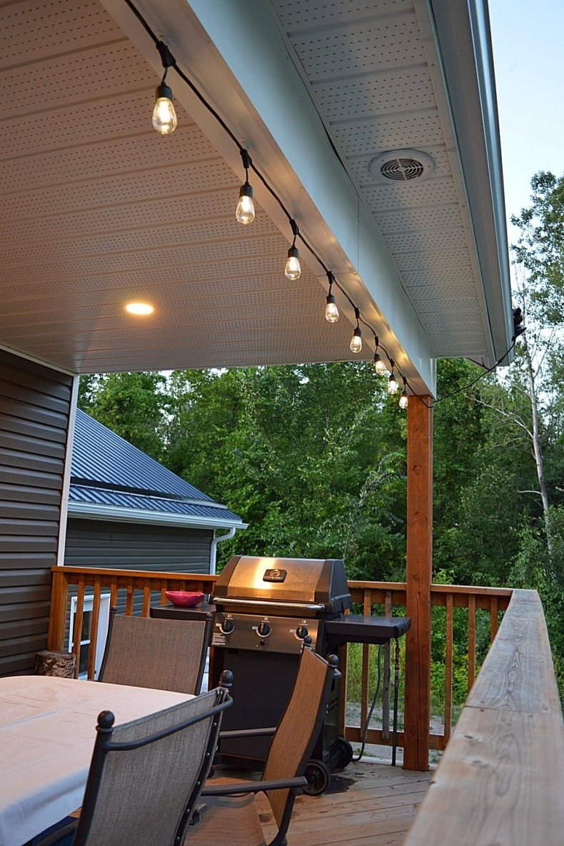 create an outdoor space perfect for entertaining with solar powered string lights