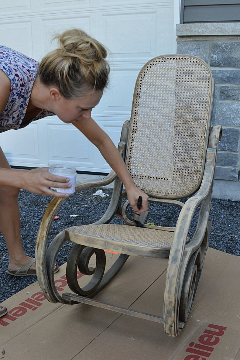 painted rocking chair makeover using fusion mineral paint homestead blue