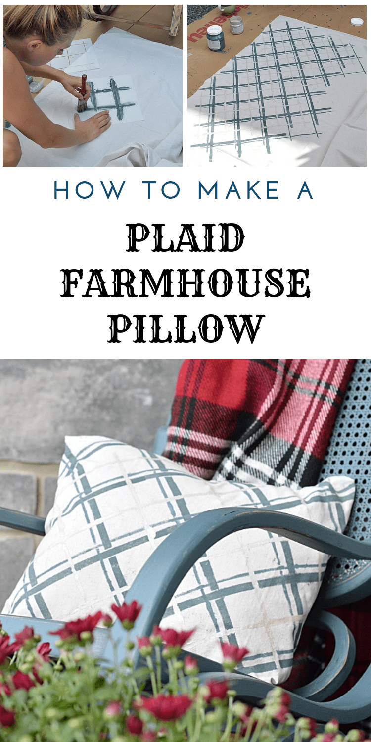 How to make a farmhouse plaid pillow cover using a drop cloth, stencils, and fusion mineral paint homestead blue