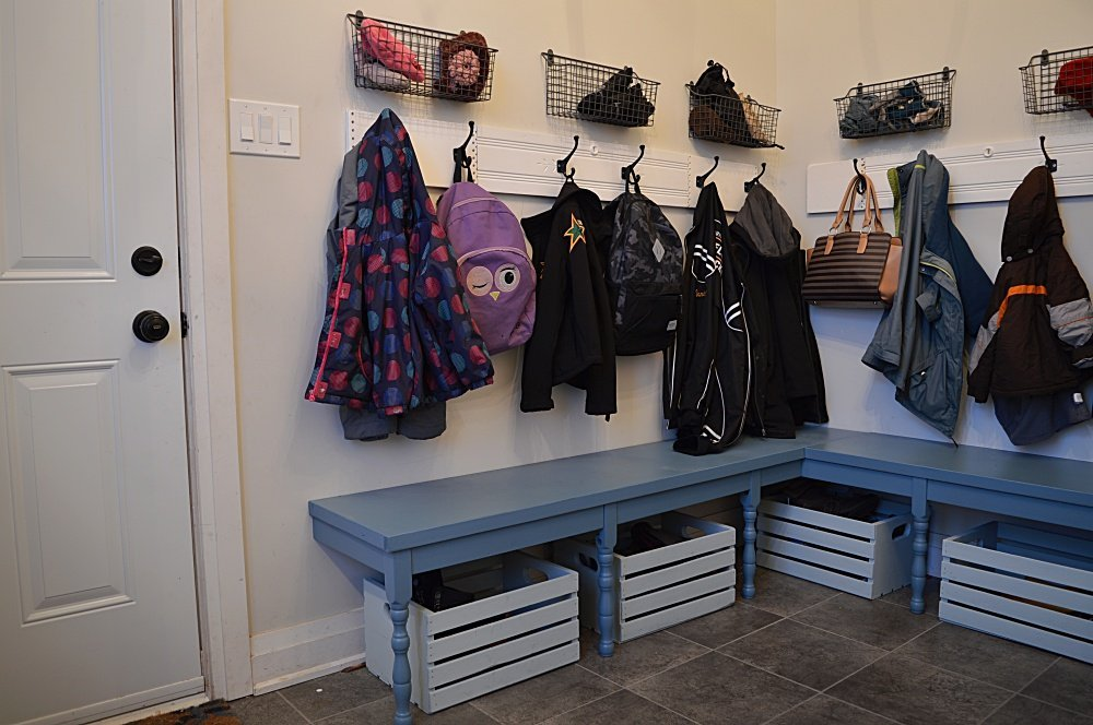 budget friendly mudroom makeover with benches