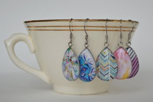 handcrafted glass cabochons earrings