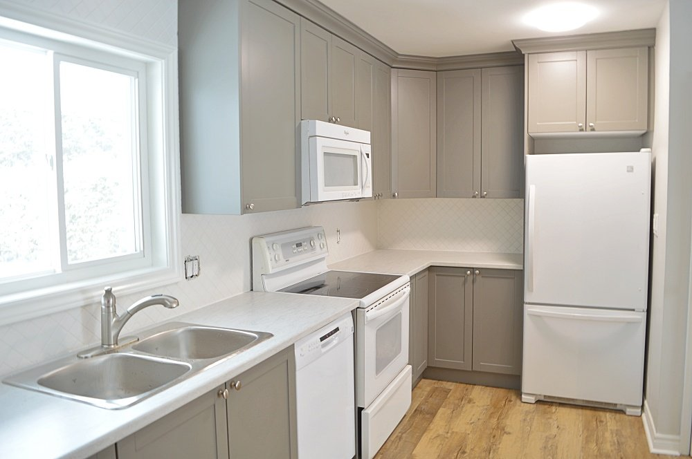grey and white kitchen renovation
