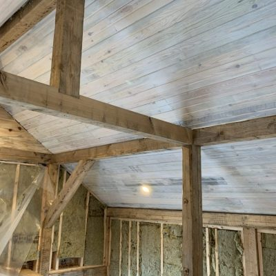 How to whitewash a pine ceiling