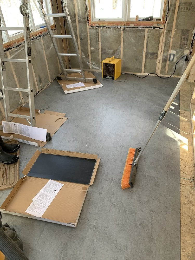 vinyl tile flooring in a cabin