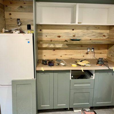 Cabin ladder, kitchen progress, & white soffit