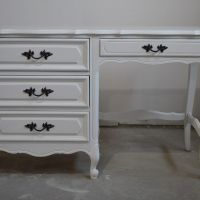 French provincial desk makeover using general finishes milk paint