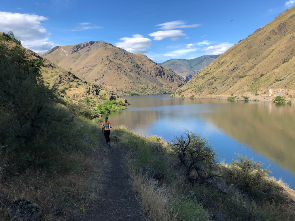 Emily Kramer trail running in Hells Canyon National Recreation Area