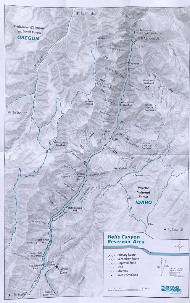 Small Hells Canyon trail map for hikers