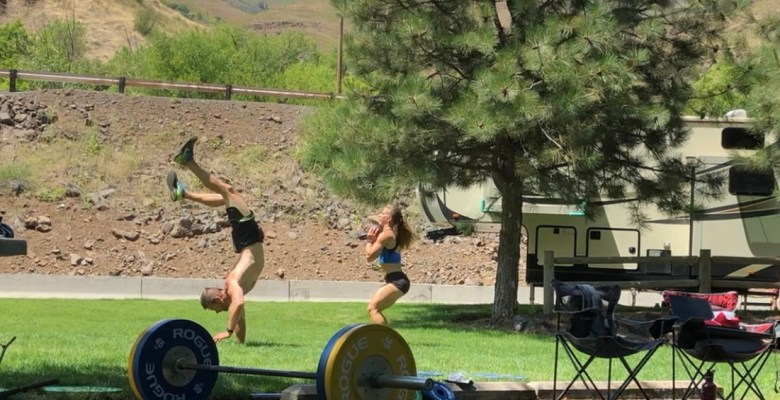 Joe and Emily doing a super fun campground workout