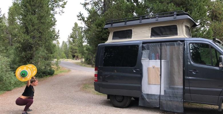 van screen door - bug netting while Emily Kramer works out