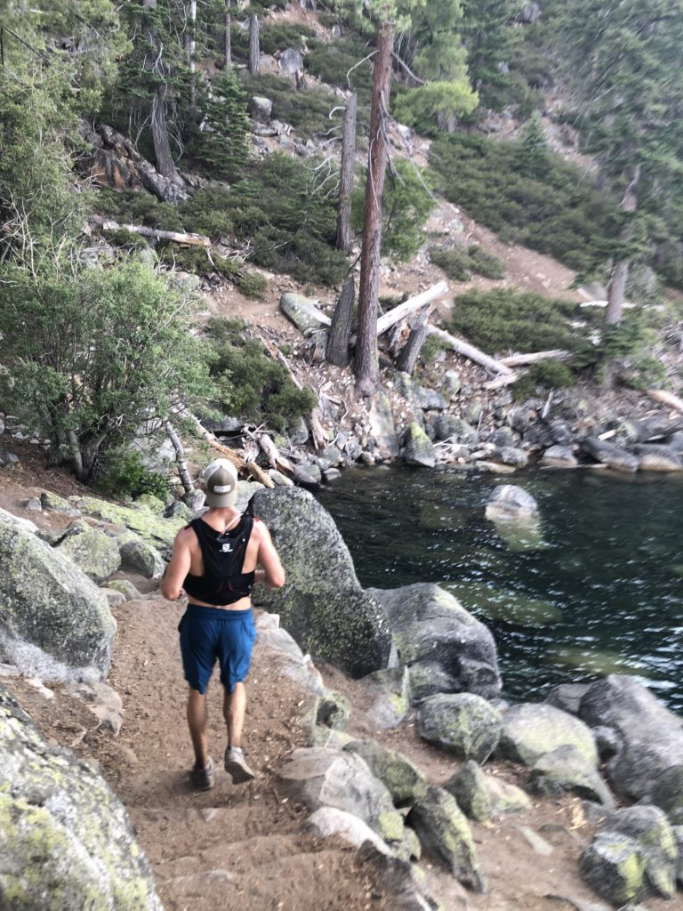 Joe Bauer trail running at lake tahoe Rubicon Trail
