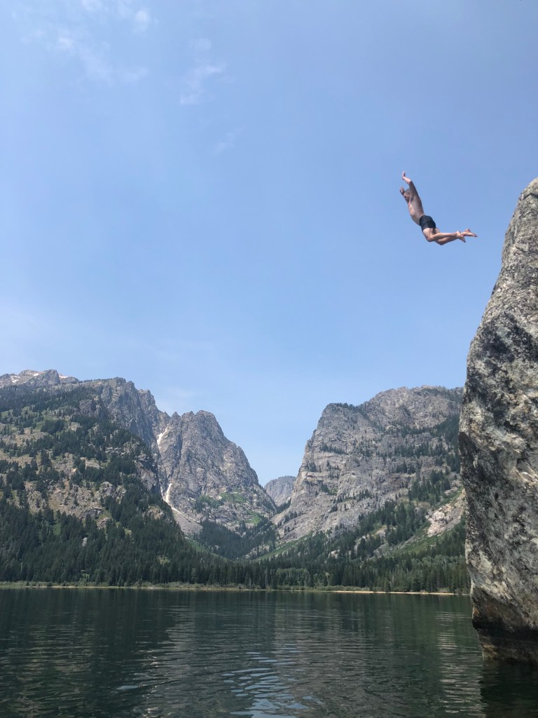 Joe rock jumping at Phelps Lake