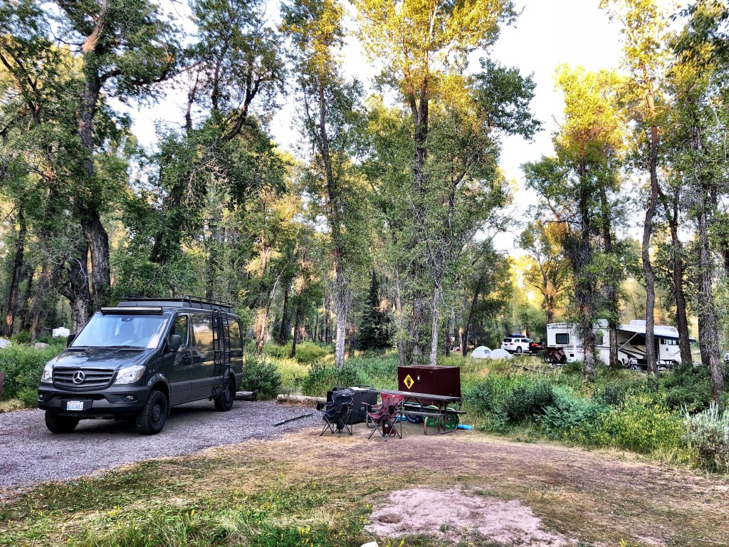 The Grand Tetons campsite with van by Joe and Emily